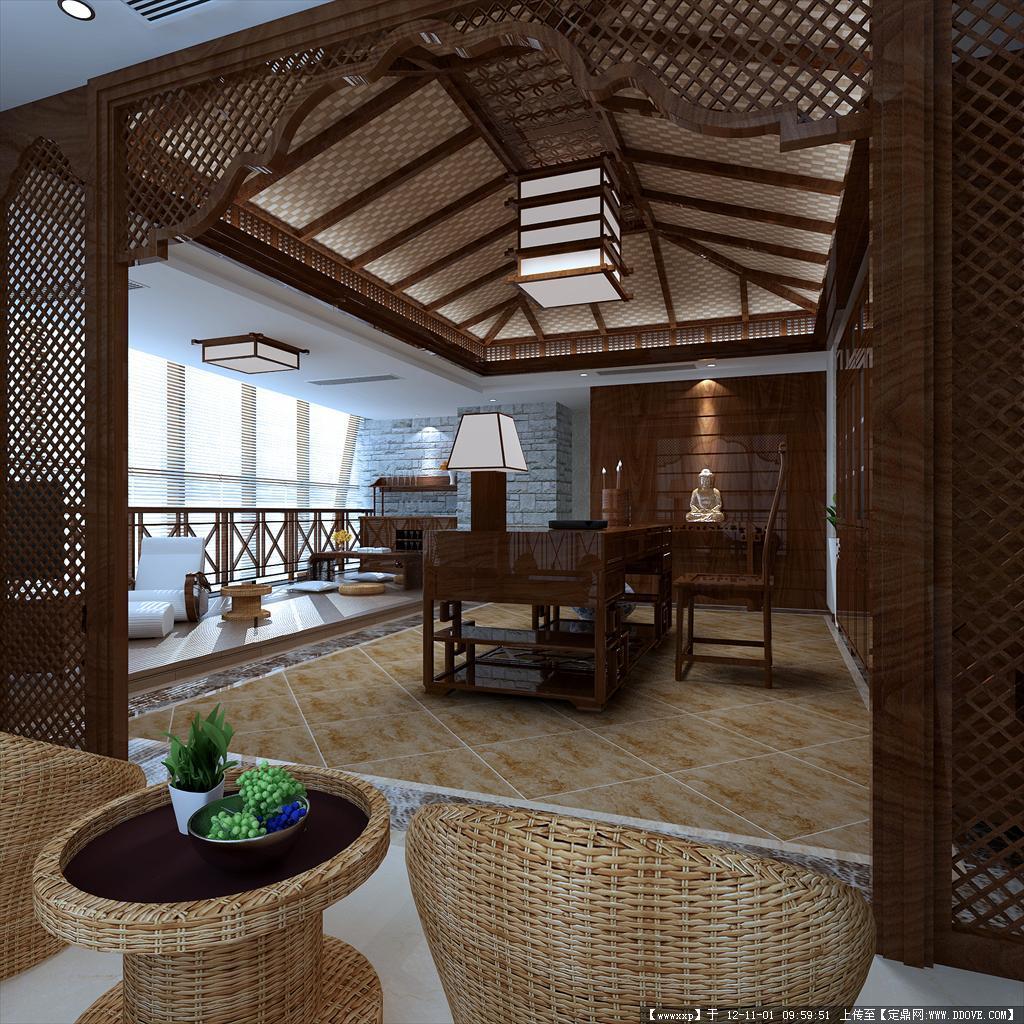 东南亚风格休闲办公室cad 效果图一张