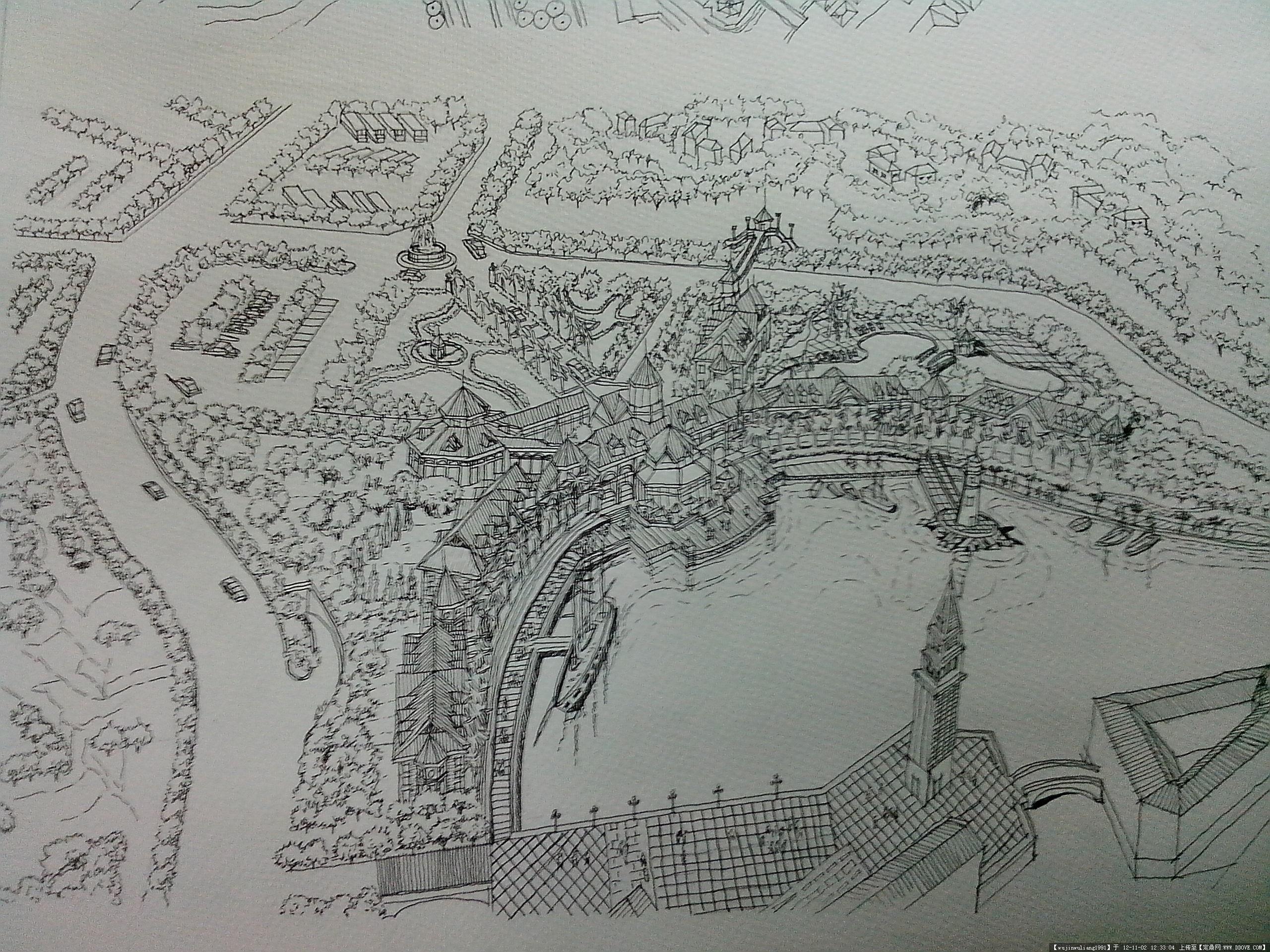 宾馆区的一个手绘鸟瞰图