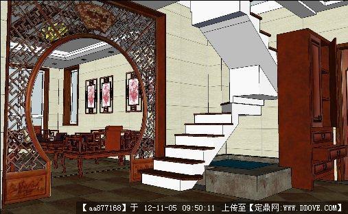 一个仿古风格样品房室内装修su精品模型
