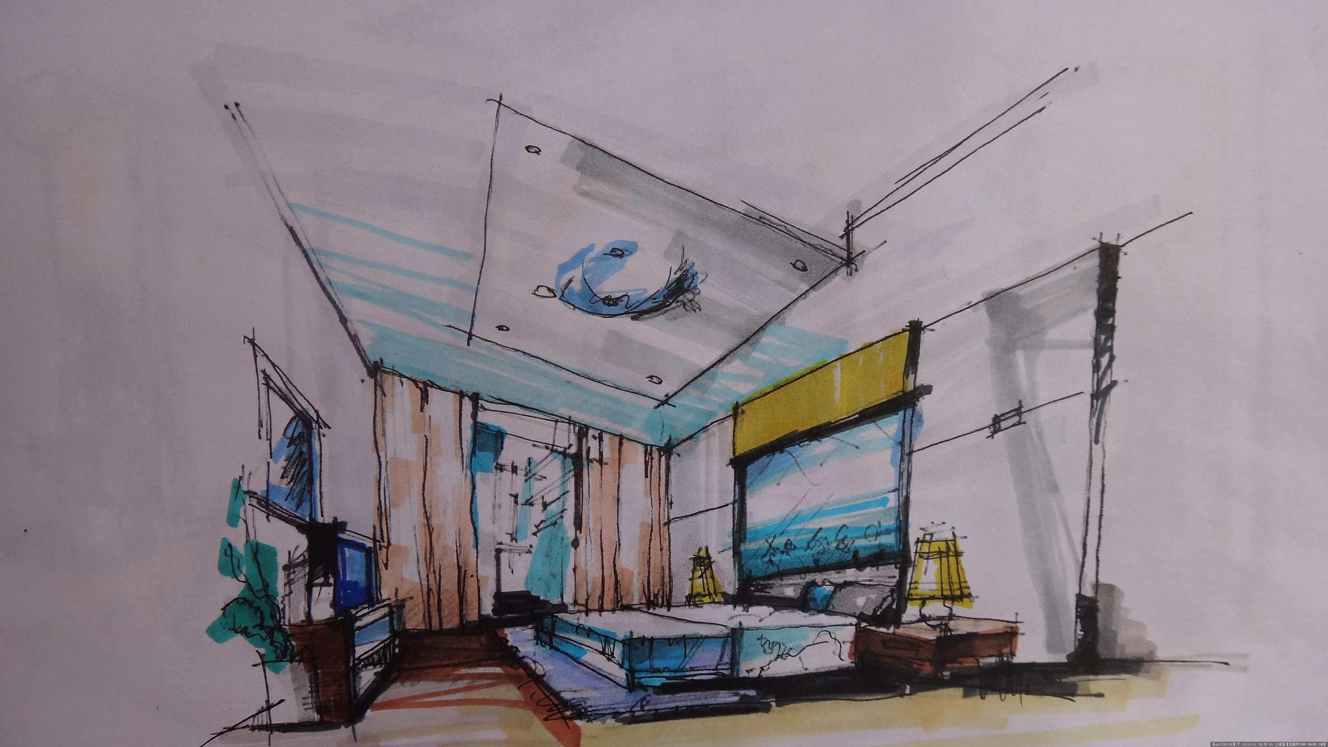 舒适别墅室内手绘图