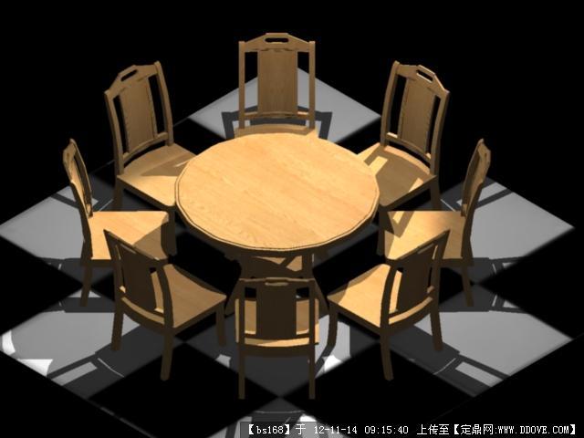 桌椅cad 三维实体效果图