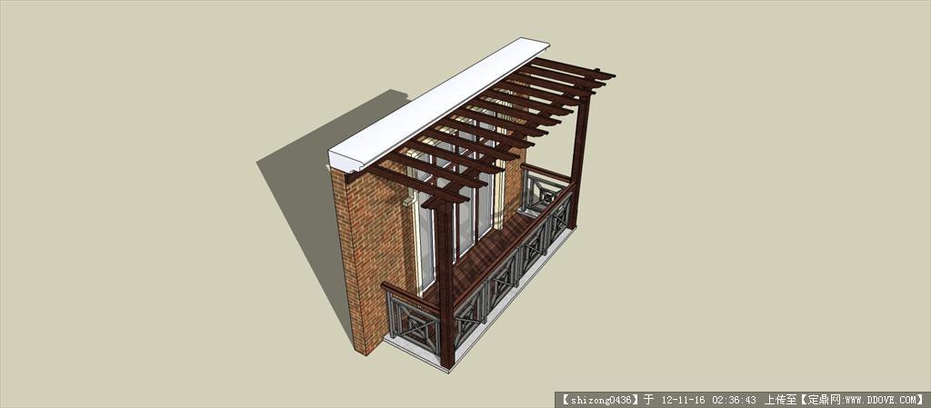 别墅阳台防腐木架