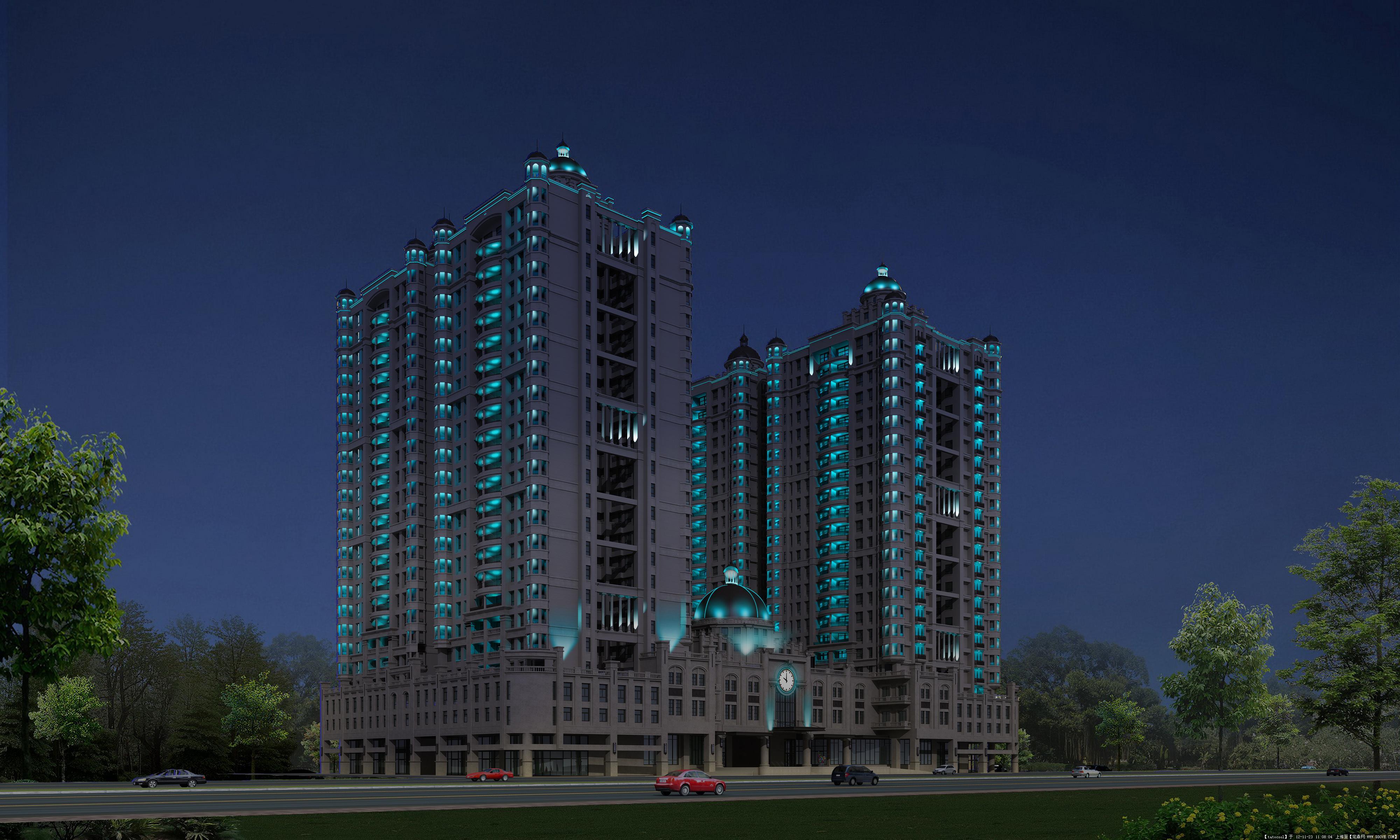 住宅建案大楼外墙夜间照明