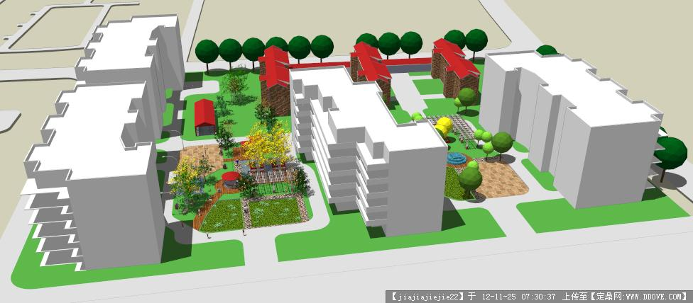 居住区典型宅间设计su模型