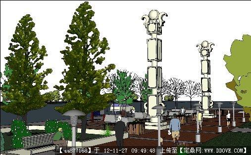 街头小游园景观设计方案su精品模型