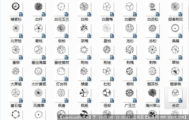 北方图纸树CAD图块(带名称)()梢弓常用图片