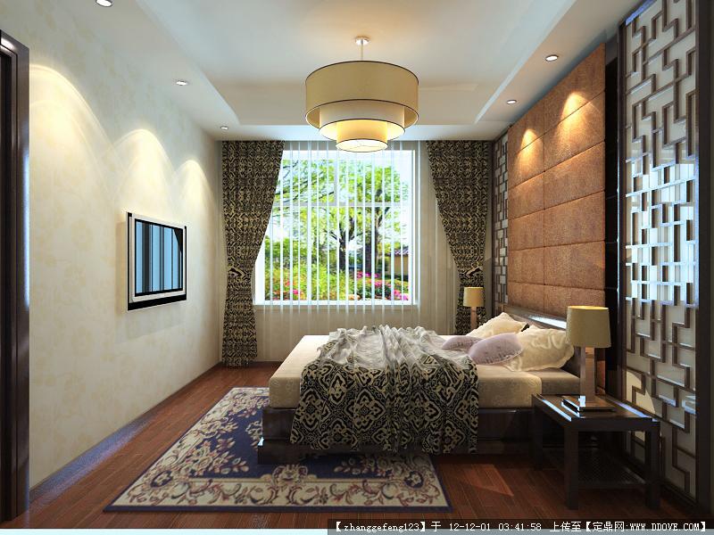 中式卧室效果图一张及3d模型并带材质