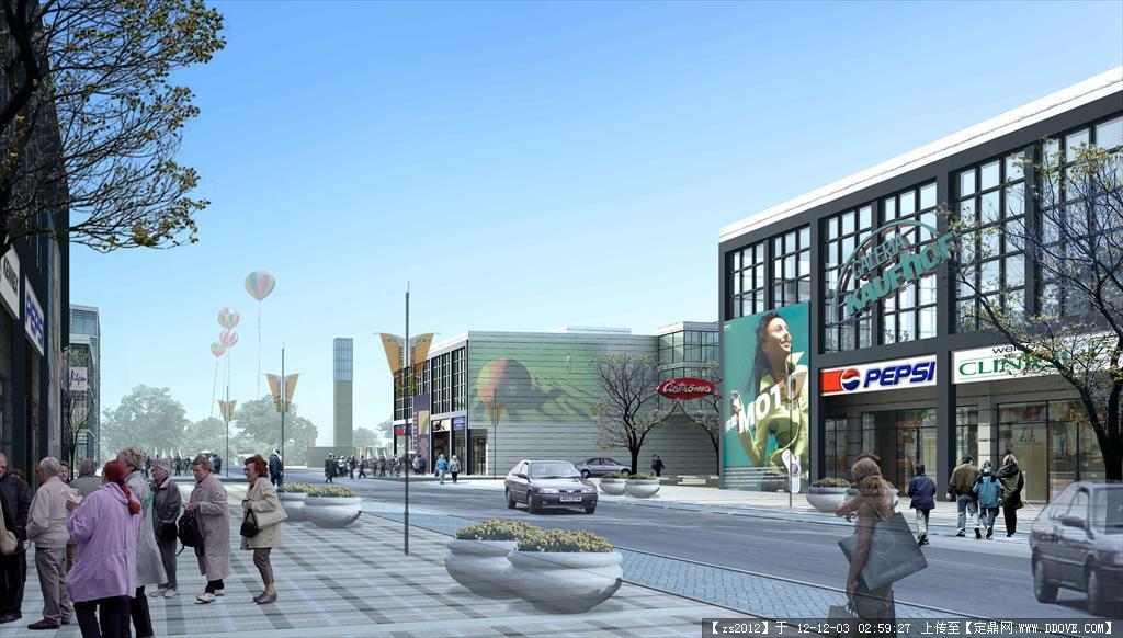 商业街区建筑景观效果图2