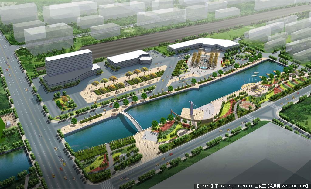 城市滨水景观规划鸟瞰psd分层效果图