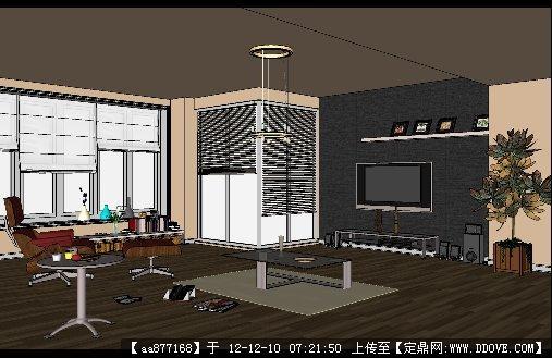 某办公室休息室家装su精品室内场景模型