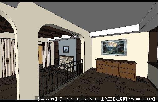 走廊过道家装su精品室内场景模型