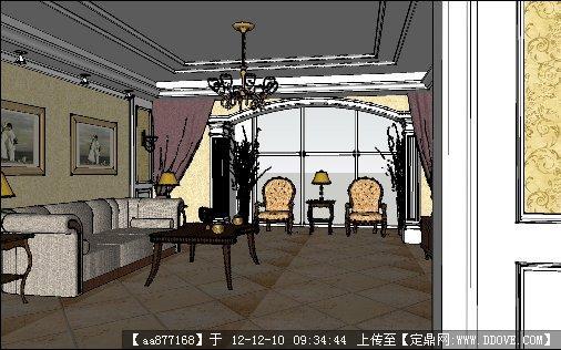 古典欧式大厅su精品室内场景模型的下载地址图片