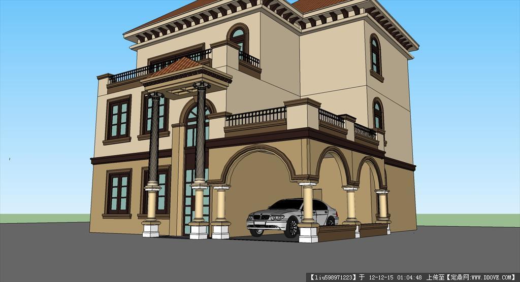 欧式别墅设计,含cad和su模型