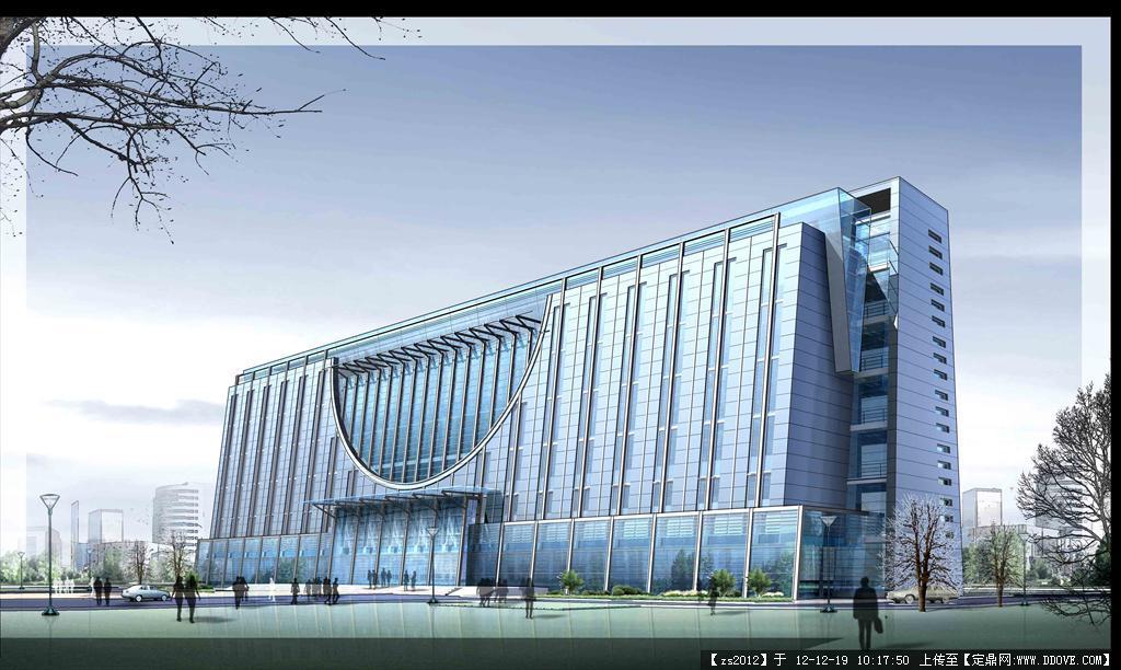 单位办公楼建筑景观设计psd效果图
