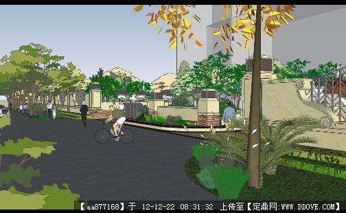 欧式古典小区入口su建筑设计模型