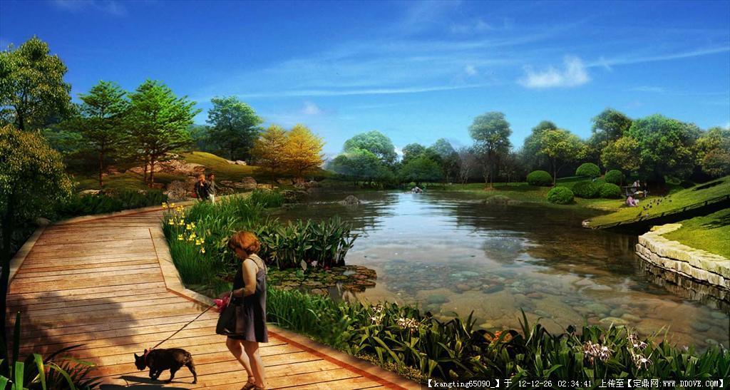 公园湿地效果图psd格式文件