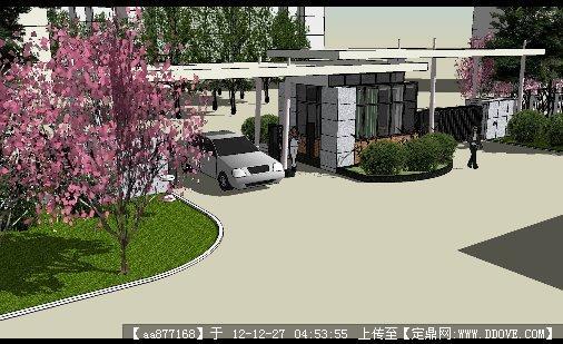 现代大气小区入口su精品建筑设计模型