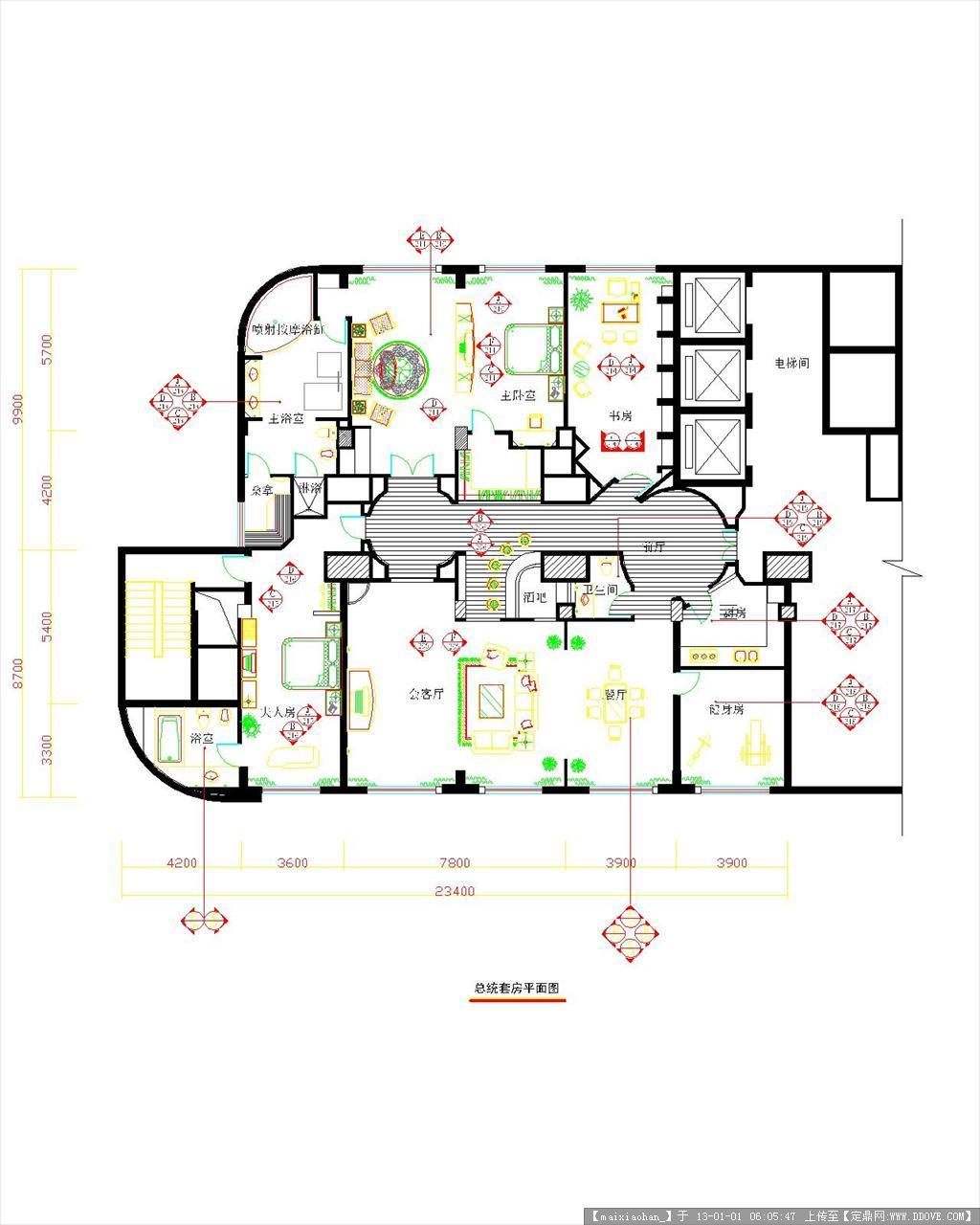新式套房设计平面图图片展示;
