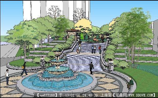 小区台阶入口景观设计su精美模型(灰晕风格)