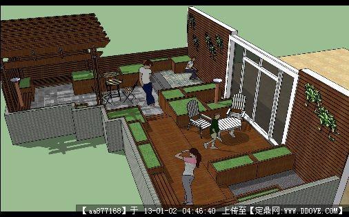 别墅室外小庭院su景观设计模型