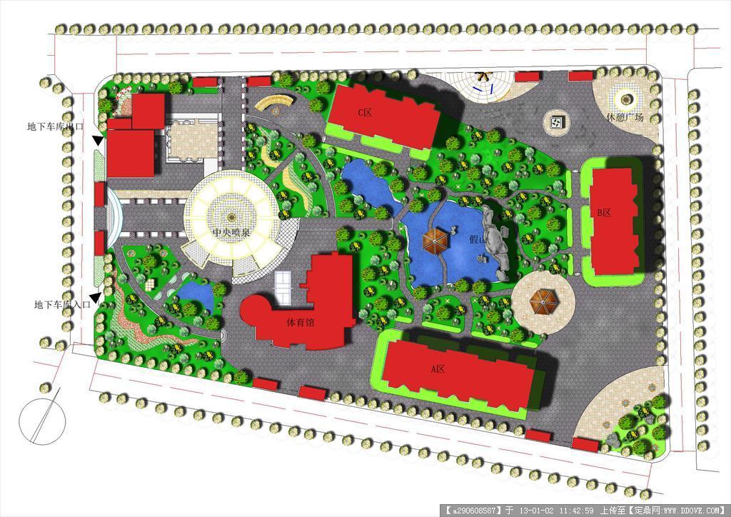幼儿园全套手绘图纸 学校 规划 设计 大学时候的小区规划设计作品