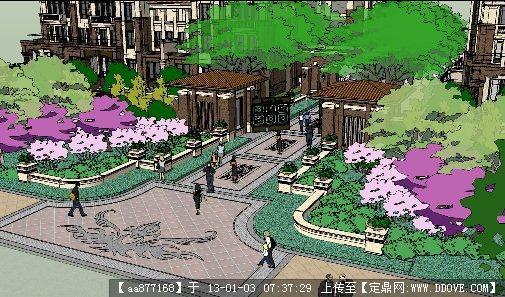 小区入口景观设计su精细模型