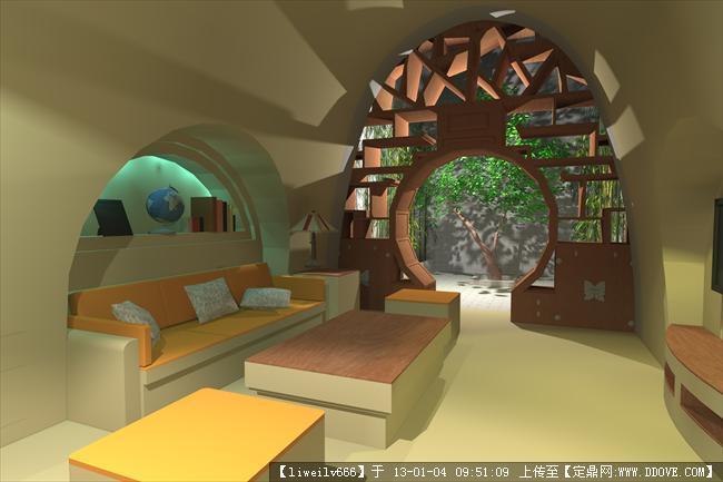 地坑窑洞室内设计效果图图片