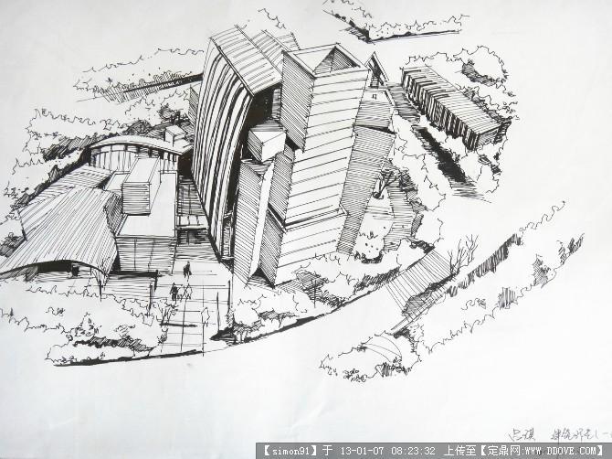 建筑马克笔手绘图