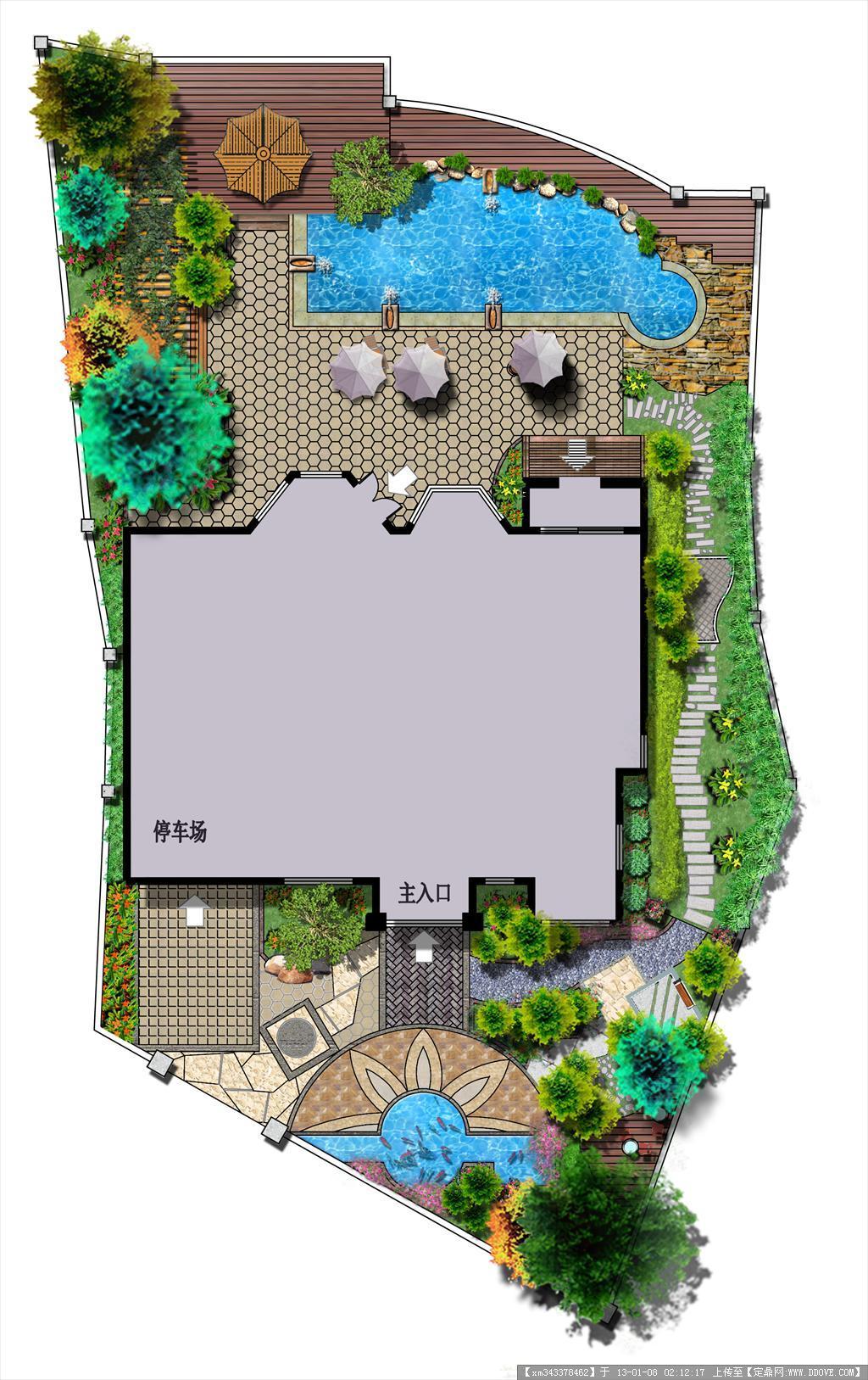 长沙别墅庭院方案图的下载地址,园林方案设计,花园,.图片