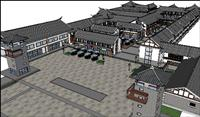 仿古商业街su精细建筑景观设计模型