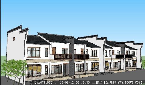 农村仿古联排别墅su精细建筑设计模型