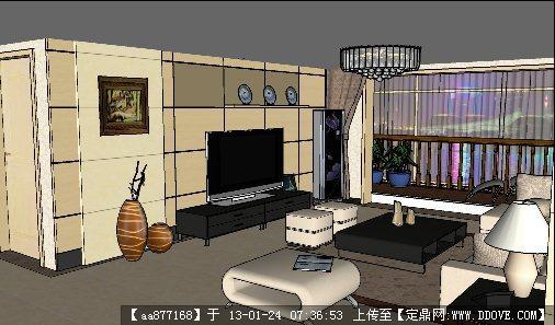 客厅室内装修su精细模型(附后期渲染图)