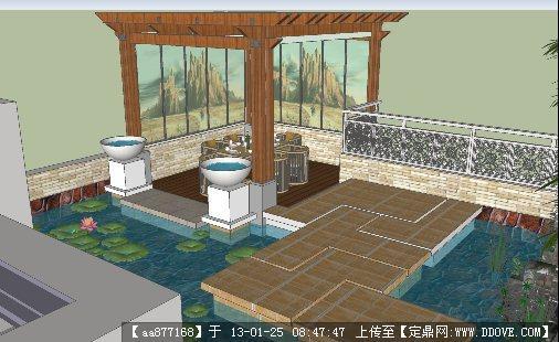 别墅庭院景观设计su精细模型