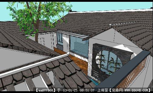 江南别墅建筑与景观设计su精细模型