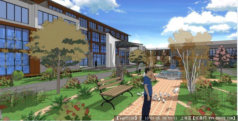 某办公楼中庭景观设计su精细模型