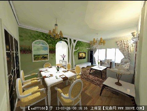 欧式客厅室内装修su精细模型的下载地址