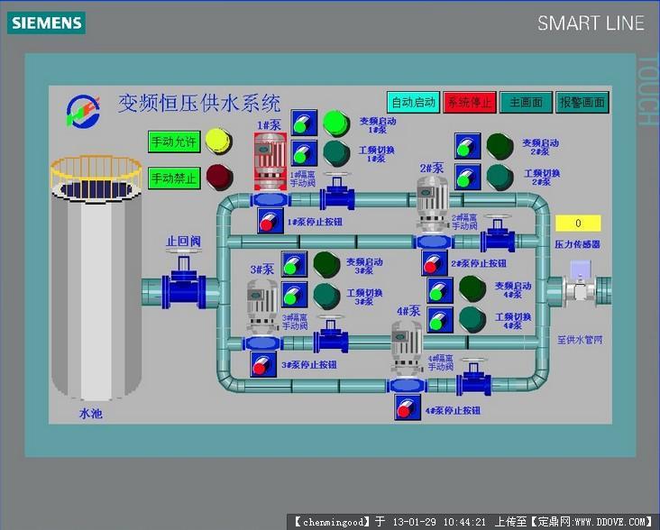 变频恒压供水系统的触摸屏组态,plc程序,cad电控图