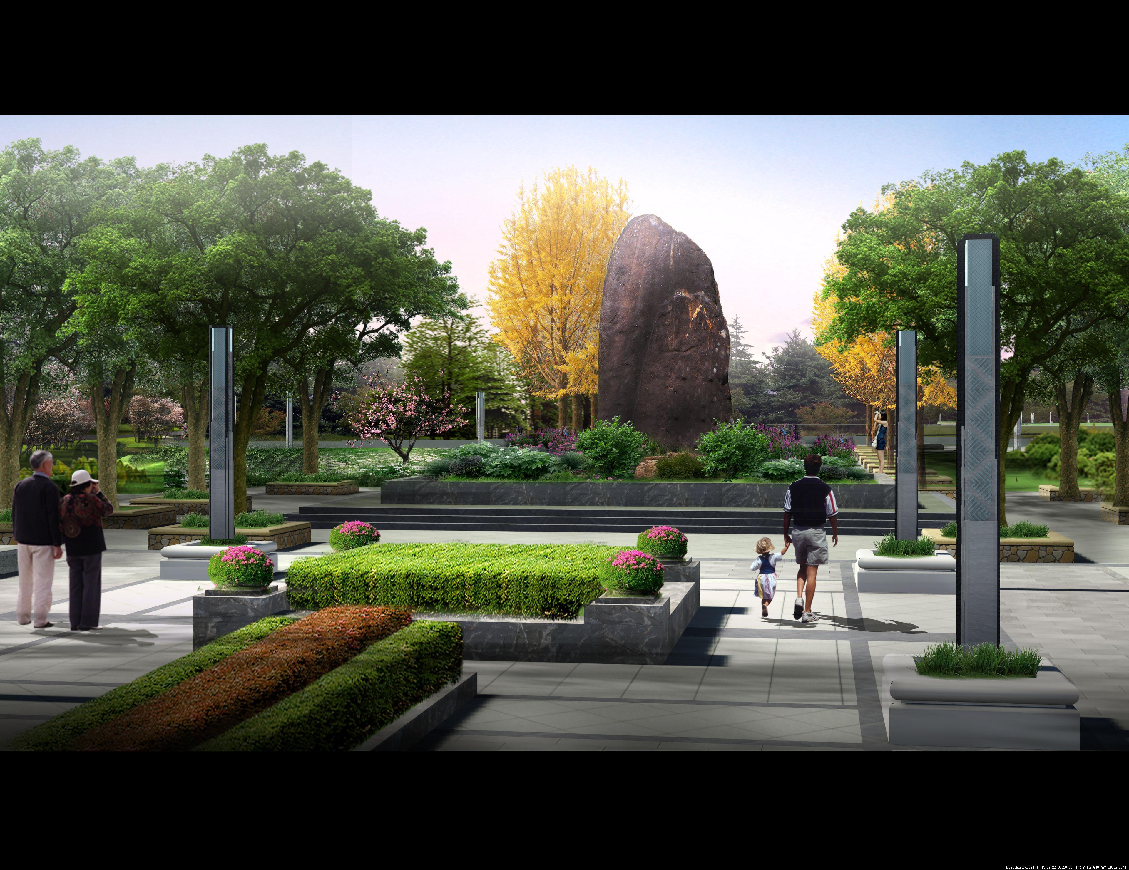 广场景观效果图的图片浏览,园林效果图,城市广场,园林