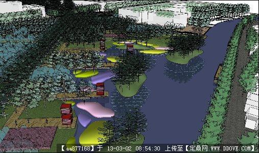 滨水绿地广场su精品景观设计模型