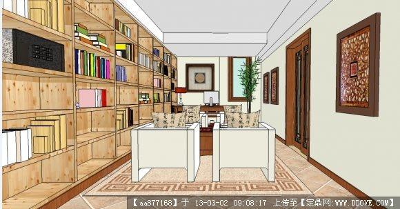 地下室室内装修su精细模型