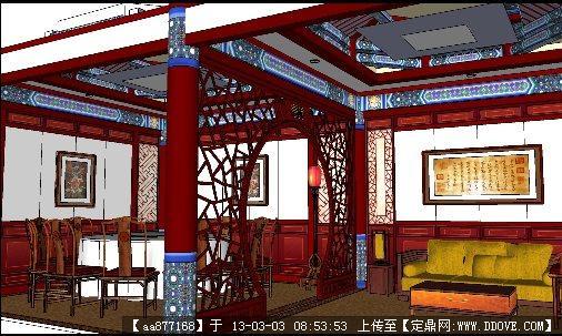 酒店大包廂su精品室內裝修模型