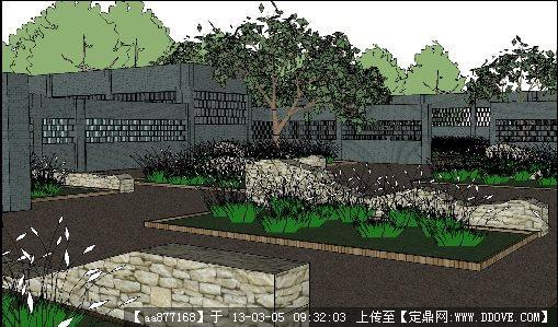 植物园入口景观设计su精品模型