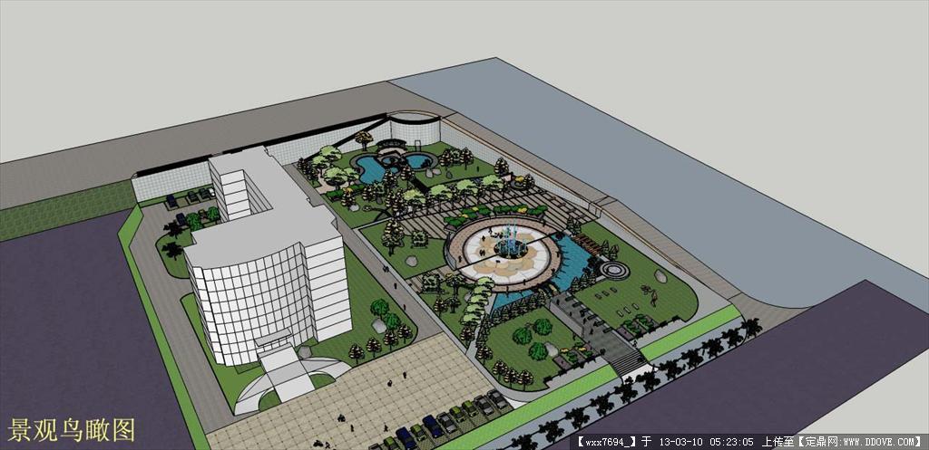广场景观su模型