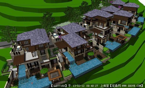 东南亚风格坡地度假别墅SU精品建筑与景观设计模型