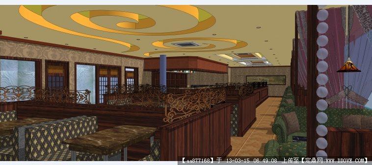 半岛咖啡馆su精品室内装修设计模型咖啡厅手绘效果图http