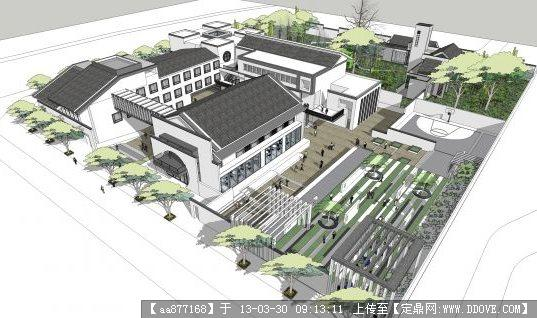 新中式办公+会所su精品建筑与景观设计模型