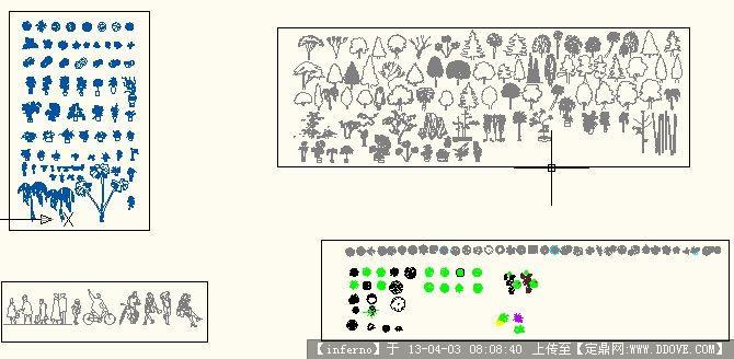 园林植物平面立面图及人物图块