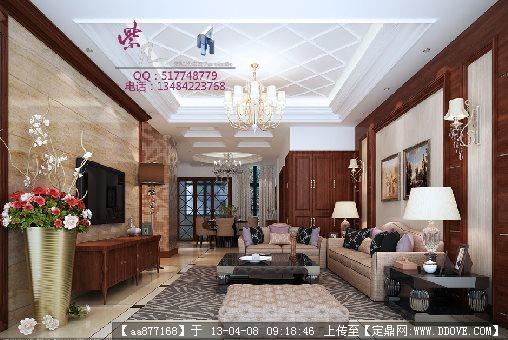005 客厅室内装修3DMAX精品模型 附贴图和渲染效果图
