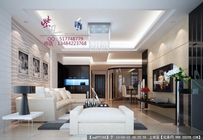 001-客厅室内装修3dmax精品模型(附贴图和渲染效果图)