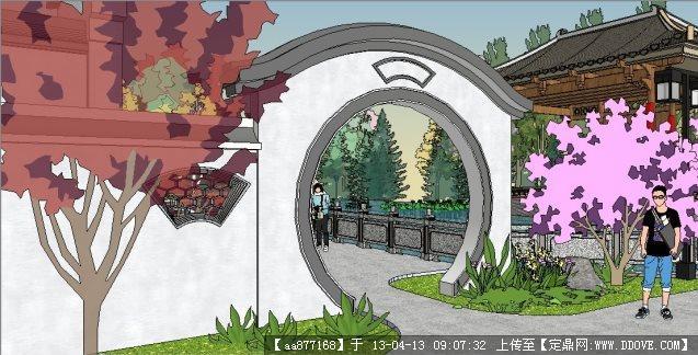 世贸茶亭公园主入口su精品景观设计模型